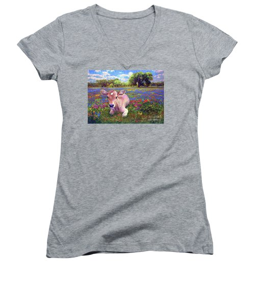 Contented Cow In Colorful Meadow Women's V-Neck T-Shirt