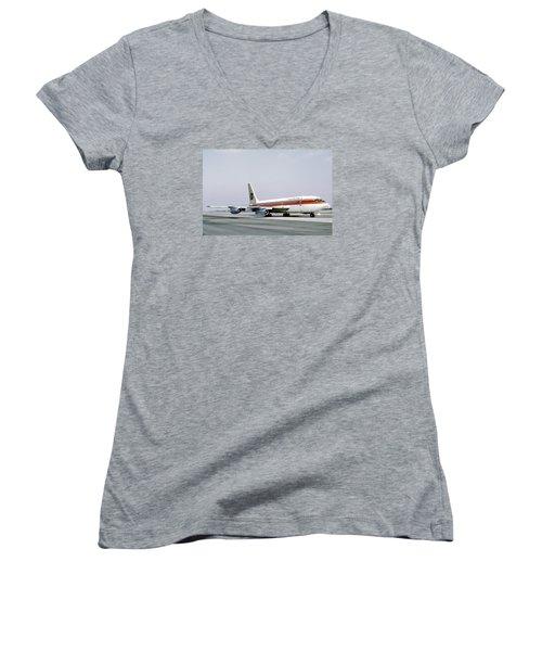 Continental Airlines 720-024b N17207 Los Angeles July 22 1972 Women's V-Neck T-Shirt (Junior Cut) by Brian Lockett