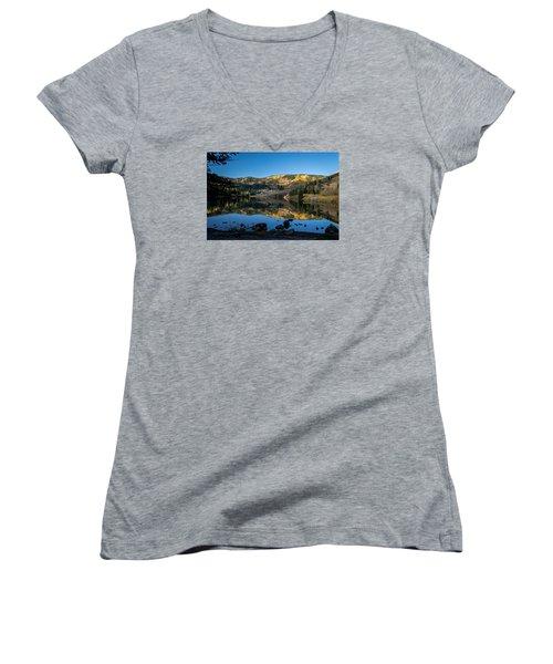 Contract Lake Fall Morning Women's V-Neck T-Shirt (Junior Cut) by Michael J Bauer