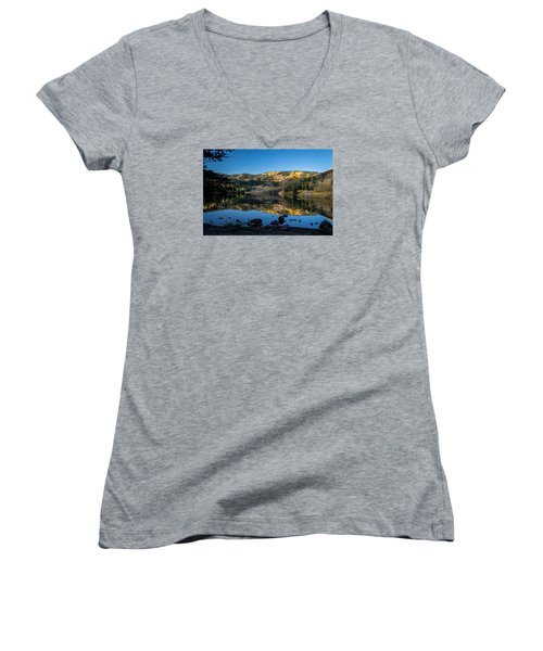 Contract Lake Fall Morning Women's V-Neck (Athletic Fit)