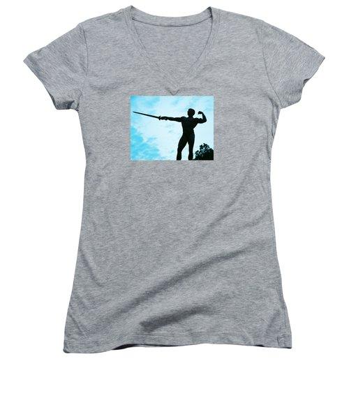 Contrast Women's V-Neck T-Shirt