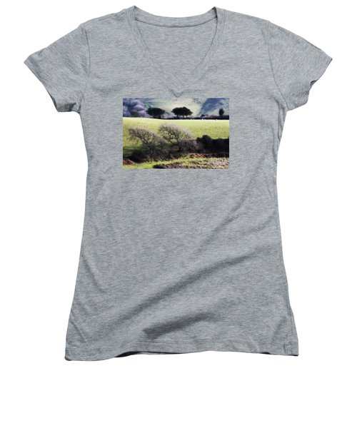 Contrast Of Trees Women's V-Neck (Athletic Fit)