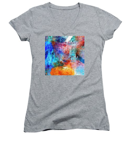 Women's V-Neck T-Shirt (Junior Cut) featuring the painting Convergence by Dominic Piperata