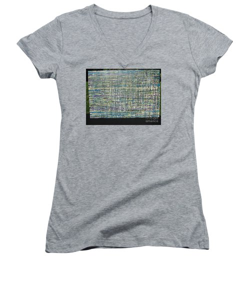 Women's V-Neck T-Shirt (Junior Cut) featuring the painting Convoluted by Jacqueline Athmann