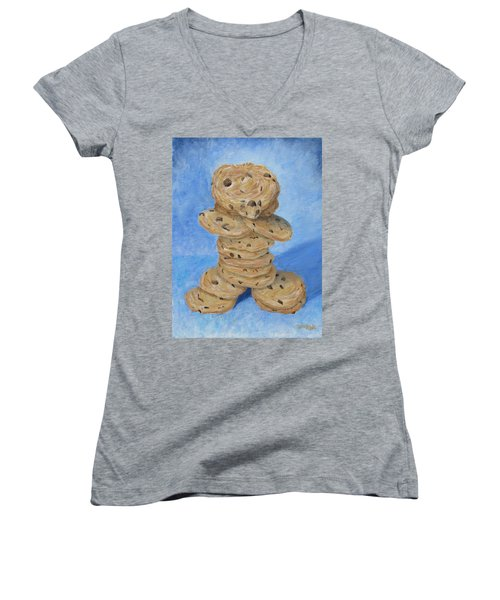 Women's V-Neck featuring the painting Cookie Monster by Nancy Nale