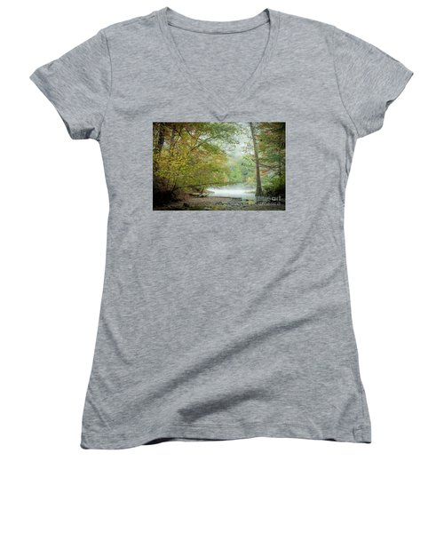 Women's V-Neck T-Shirt (Junior Cut) featuring the photograph Cool Morning by Iris Greenwell