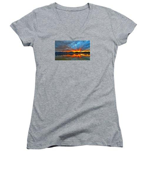 Cool Nightfall Women's V-Neck T-Shirt (Junior Cut) by Eric Dee