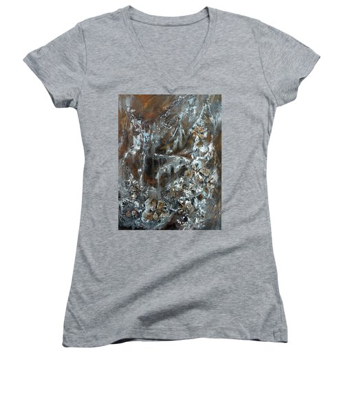 Women's V-Neck T-Shirt (Junior Cut) featuring the painting Copper And Mica by Joanne Smoley