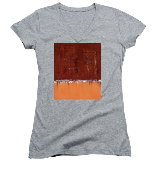 Copper Field Abstract Painting Women's V-Neck
