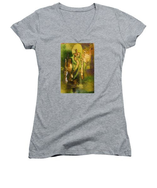 Women's V-Neck T-Shirt (Junior Cut) featuring the digital art Copper Hair by Andrea Barbieri