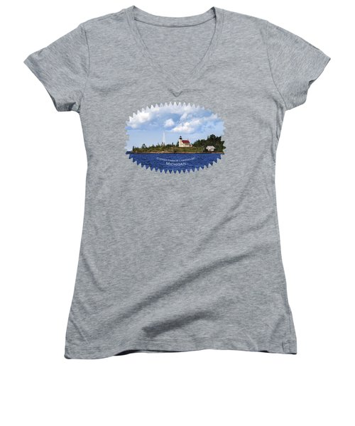Copper Harbor Lighthouse Women's V-Neck T-Shirt (Junior Cut) by Christina Rollo