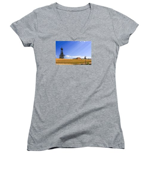 Copper Mining In Montana Women's V-Neck T-Shirt (Junior Cut) by Chris Smith