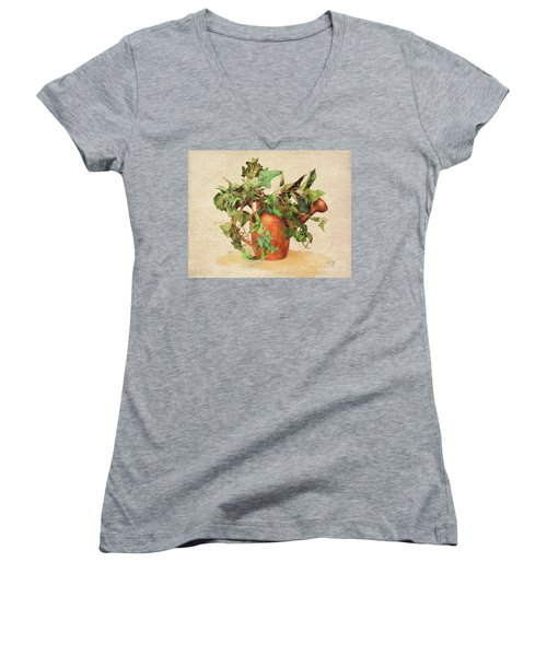 Women's V-Neck T-Shirt featuring the digital art Copper Watering Can by Lois Bryan