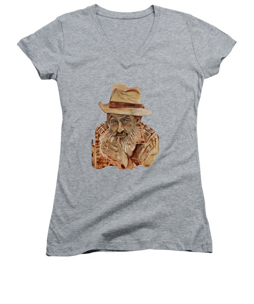 Coppershine Popcorn Bust - T-shirt Transparency Women's V-Neck T-Shirt (Junior Cut) by Jan Dappen