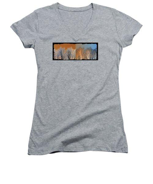 Women's V-Neck T-Shirt (Junior Cut) featuring the digital art Coppertone Fusion by Will Borden
