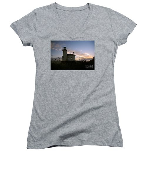 Coquille River Lighthouse At Sunset Women's V-Neck T-Shirt