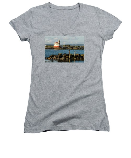 Coquille River Lighthouse Bandon Oregon Women's V-Neck