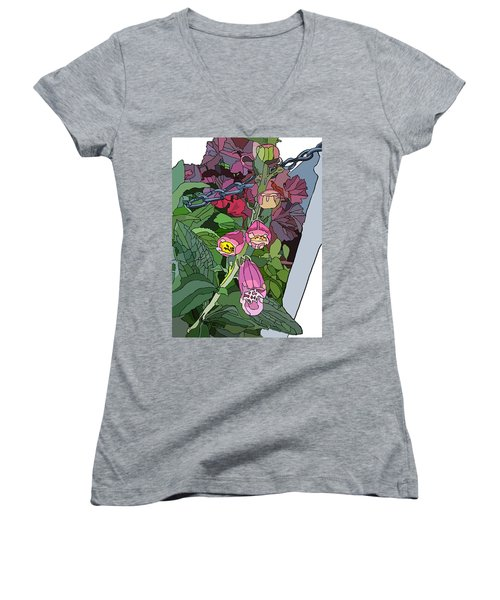 Coral Bells In The Garden Women's V-Neck T-Shirt (Junior Cut) by Jamie Downs