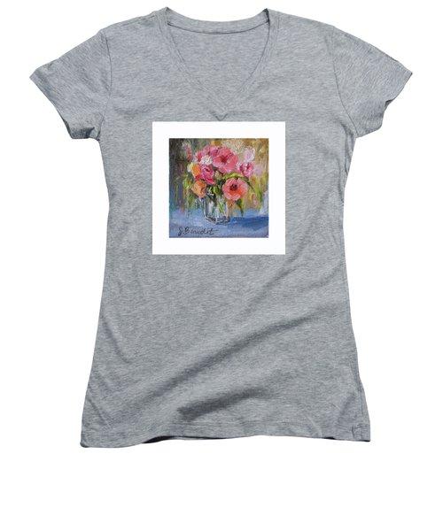 Coral Bouquet Women's V-Neck T-Shirt