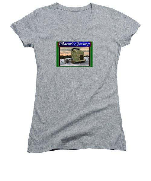 Women's V-Neck T-Shirt (Junior Cut) featuring the digital art Corbitt Christmas Card by Stuart Swartz