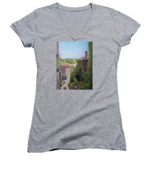 Women's V-Neck T-Shirt (Junior Cut) featuring the mixed media Cordes Sur Ciel by Constance DRESCHER