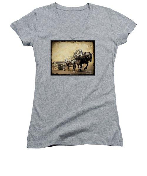 Core-two-duo Women's V-Neck T-Shirt (Junior Cut) by Davandra Cribbie