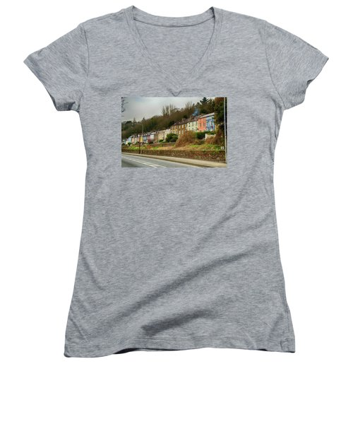 Women's V-Neck T-Shirt (Junior Cut) featuring the photograph Cork Row Houses by Marie Leslie