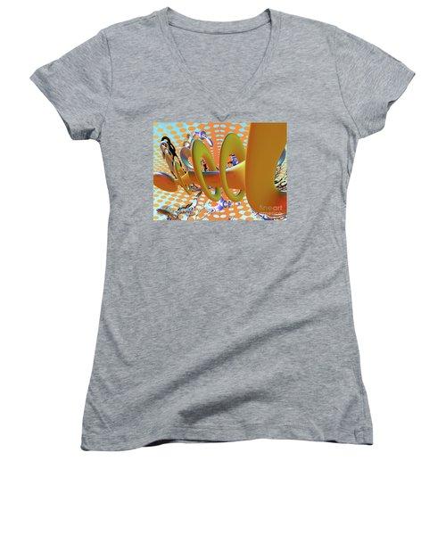 Corkscrew Women's V-Neck T-Shirt (Junior Cut) by Melissa Messick