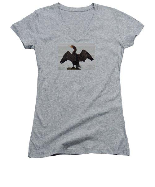 Cormorant In Bellingham Women's V-Neck T-Shirt (Junior Cut) by Karen Molenaar Terrell
