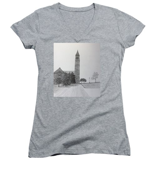 Cornell Clock Tower  Women's V-Neck (Athletic Fit)
