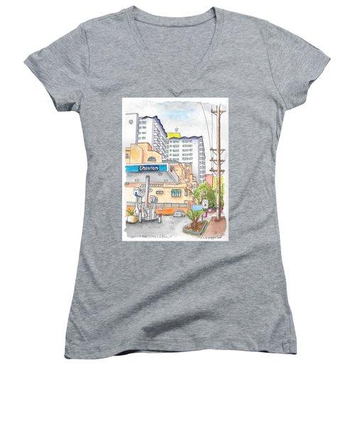 Corner La Cienega Blvd. And Hallway, Chevron Gas Station, West Hollywood, Ca Women's V-Neck T-Shirt (Junior Cut) by Carlos G Groppa