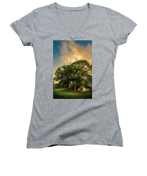 Women's V-Neck T-Shirt (Junior Cut) featuring the photograph Corner Oak by Marvin Spates