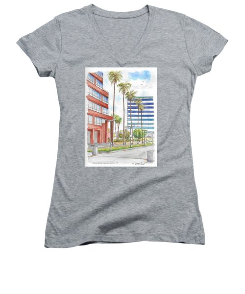 Corner Wilshire Blvd. And Curson, Miracle Mile, Los Angeles, Ca Women's V-Neck T-Shirt (Junior Cut) by Carlos G Groppa