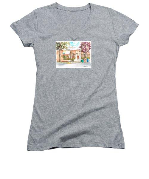 Corner With Bougainvillas In San Luis Obispo, California Women's V-Neck T-Shirt (Junior Cut) by Carlos G Groppa