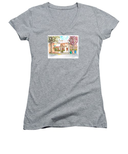 Corner With Bougainvillas In San Luis Obispo, California Women's V-Neck (Athletic Fit)