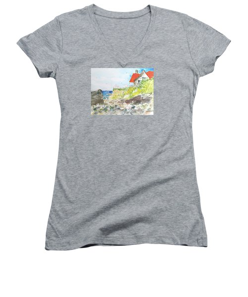 Cornfield Point Old Saybrook Women's V-Neck T-Shirt (Junior Cut) by Gertrude Palmer