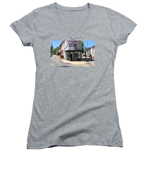 Women's V-Neck T-Shirt (Junior Cut) featuring the photograph Cornhill And Fleet by Charles Kraus