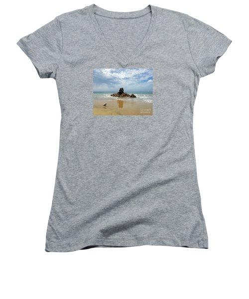 Corona Del Mar 2 Women's V-Neck T-Shirt (Junior Cut) by Cheryl Del Toro