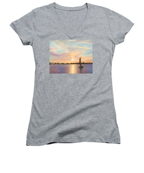 Coronado Bridge Sunset  B Women's V-Neck T-Shirt
