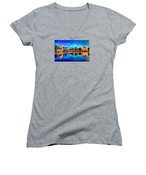 Coronado Springs Resort Women's V-Neck T-Shirt (Junior Cut) by Caito Junqueira