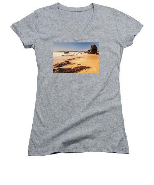 Corunna Point Beach Women's V-Neck T-Shirt (Junior Cut) by Werner Padarin