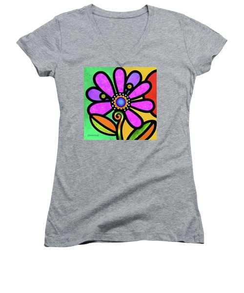Cosmic Daisy In Pink Women's V-Neck