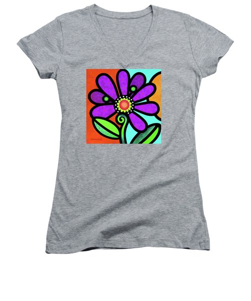 Cosmic Daisy In Purple Women's V-Neck
