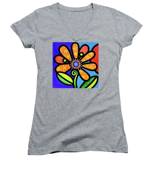 Cosmic Daisy In Yellow Women's V-Neck