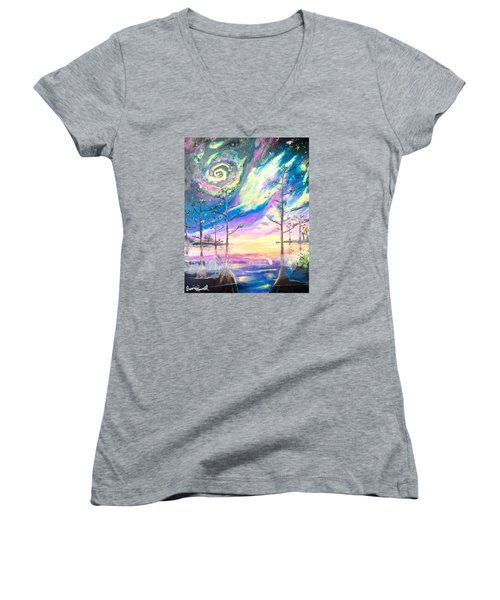 Women's V-Neck T-Shirt (Junior Cut) featuring the painting Cosmic Florida by Dawn Harrell
