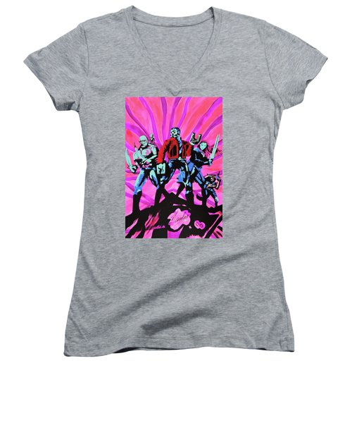 Cosmic Guardians Of The Galaxy 2 Women's V-Neck (Athletic Fit)