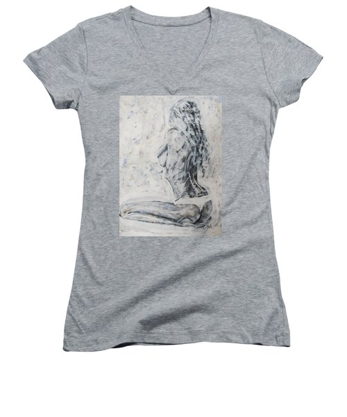 Women's V-Neck T-Shirt featuring the painting Cosmic Love by Jarko Aka Lui Grande
