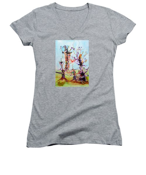 Cosmic Tree Family Women's V-Neck T-Shirt