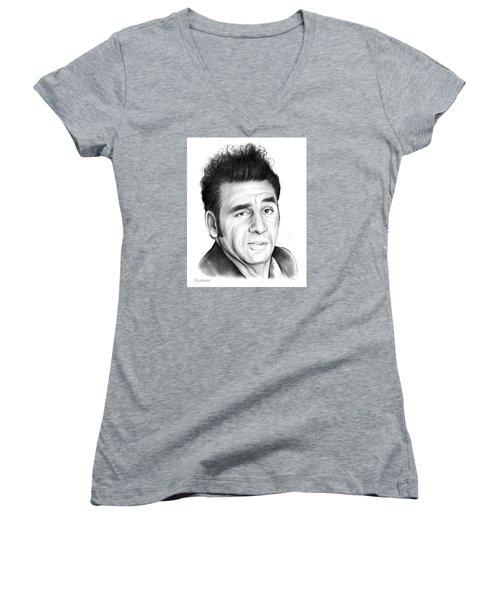 Cosmo Kramer Women's V-Neck T-Shirt (Junior Cut) by Greg Joens