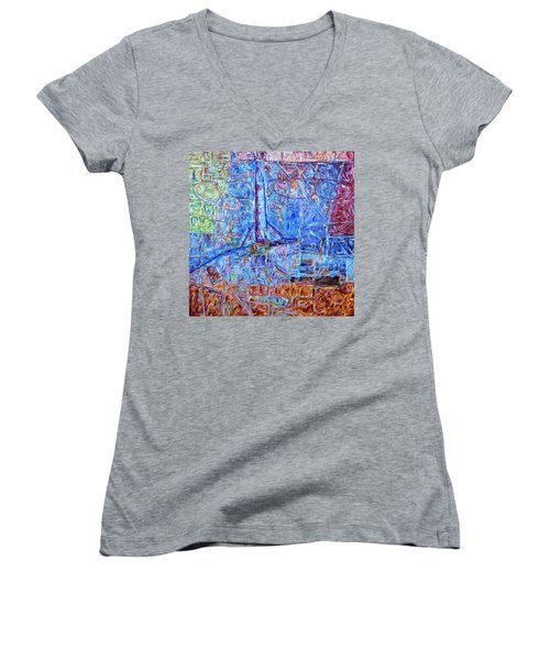 Women's V-Neck T-Shirt (Junior Cut) featuring the painting Cosmodrome by Dominic Piperata